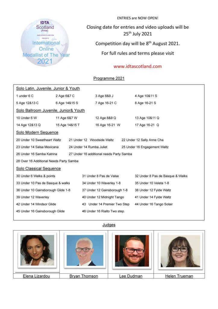 Programma IDTA Scotland International Online Medallist of the Year 2021, deel 1